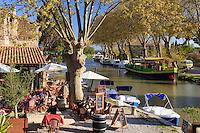 France, Aude (11), Le Somail, port fluvial du Somail sur le canal du Midi classé Patrimoine Mondial de l'UNESCO // France, Aude, Le Somail, Somail river port on the Canal du Midi listed as World Heritage by UNESCO