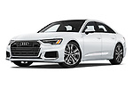 Stock pictures of low aggressive front three quarter view of a 2019 Audi A6 Premium Plus 4 Door Sedan