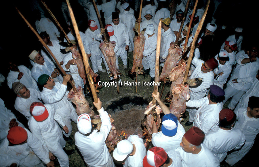 Samaria, the Samaritan sacrifice ceremony on Mount Gerizim at Passover<br />