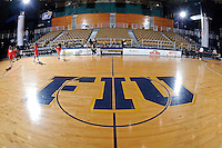 25 February 2012:  FIU's court at the U.S. Century Bank Arena prior to the game.  The FIU Golden Panthers defeated the University of South Alabama Jaguars, 58-55 (OT), at the U.S. Century Bank Arena in Miami, Florida.