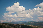 Clouds gather on a summer afternoon over the Crystal Range of the Sierra Nevada, Calif.