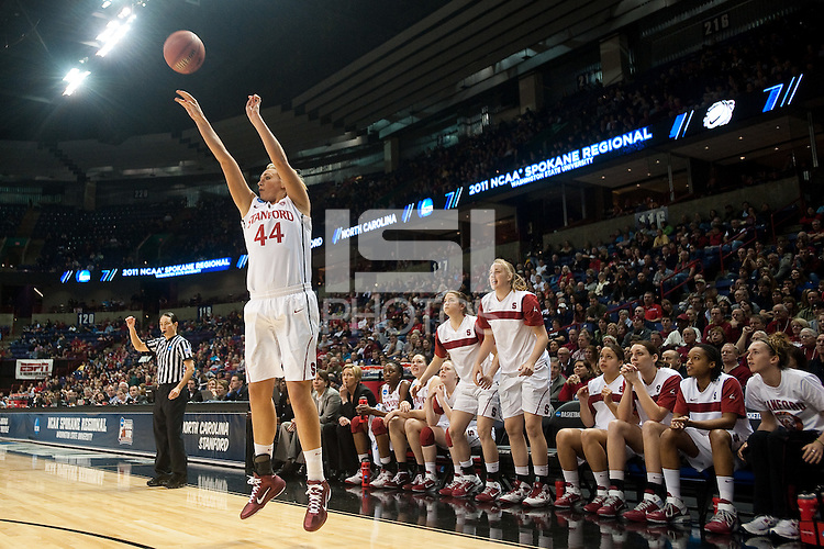 SPOKANE, WA - MARCH 26, 2011: Joslyn Tinkle of Stanford Women's Basketball vs University of North Carolina, NCAA West Regionals on March 26, 2011.
