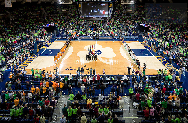 Jan. 19, 2015; The National Anthem before the Women's Basektball game against Tennessee. Notre Dame won 88-77. (Photo by Matt Cashore/University of Notre Dame)