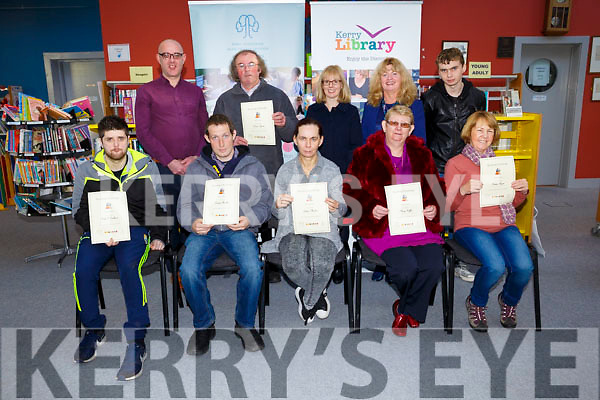 People who struggle to read were  presented with Certificates after taking the Six Book Reading Challenge at the Listowel Library on Tuesday. Pictured front l-r Dale O'Sullivan, Declan Mullen, Eileen Mullen, Mary Griffin, Helen Ryan, Back l-r Barthy Flynn, Branch Librarians,  Denis Lyons, Aoife McCormack (County Adult Literacy Organiser), Mary Swain (DLEO Listowel), Jason O'Brien