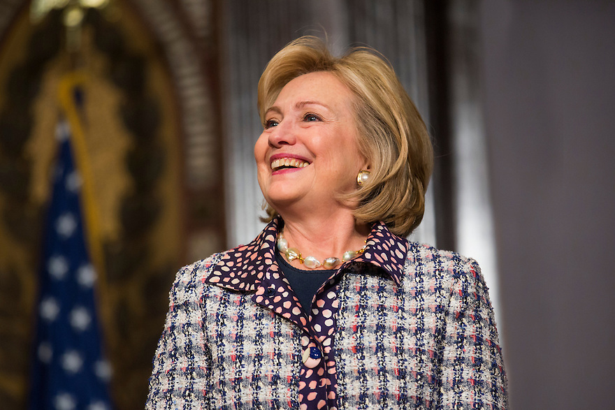Former U.S. Secretary of State Hillary Clinton participates in a symposium on advancing the progress and freedoms of Afghan women at Georgetown University in Washington.