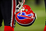 7 December 2008: A Buffalo Bills helmet is held on the sidelines prior to a game against the Miami Dolphins. The game was the first regular season NFL game ever played in Canada. The Dolphins defeated the Bills 16-3 at the Rogers Centre in Toronto, Ontario. ..Mandatory Photo Credit: Ed Wolfstein Photo