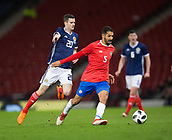 23rd March 2018, Hampden Park, Glasgow, Scotland; International Football Friendly, Scotland versus Costa Rica; Celso Borges of Costa Rica and Jamie Murphy of Scotland