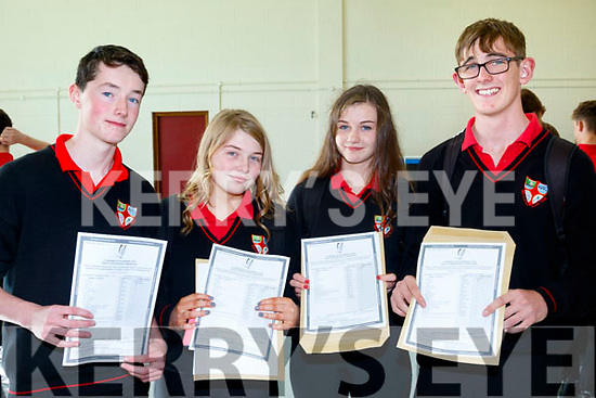 Success<br /> -----------<br /> Students from Brandon at the Me&aacute;n Scoil Nua an Leith Tri&uacute;igh, Castlegregory, who were all smiles after receiving their Junior Cert results last Wednesday at the school, L-R Tom&aacute;s Fitzpatrick, Rachel O'Connor, Aoife Naessens and David Costello.