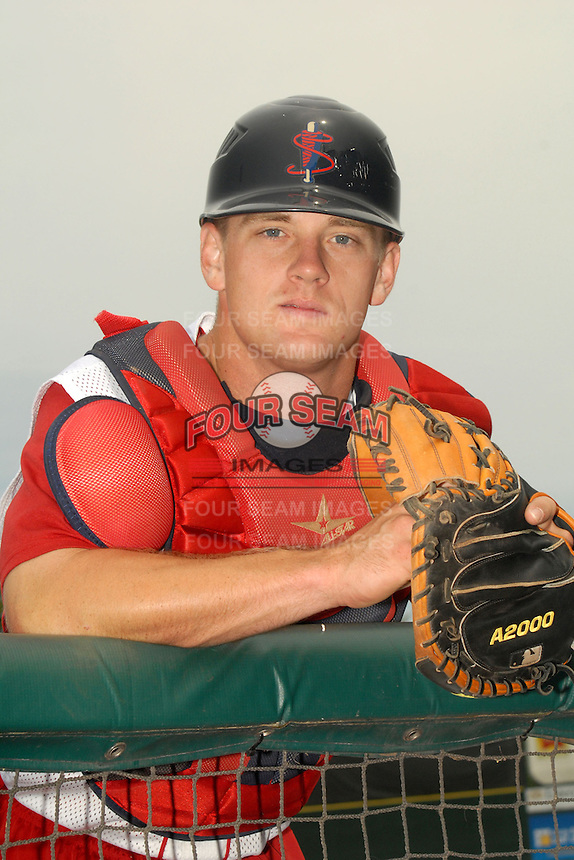 Lowell Spinners catcher J.T. Watkins poses for a photo prior to a game versus the Hudson Valley Renegades at LeLacheur Park in Lowell,Massachusetts on August 19, 2012.    (Ken Babbitt/Four Seam Images)
