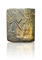 Picture &amp; image of Hittite relief sculpted orthostat stone panel of Herald's Wall. Limestone, Karkamıs, (Kargamıs), Carchemish (Karkemish), 900-700 B.C. Military parade. Anatolian Civilisations Museum, Ankara, Turkey.<br /> <br /> Three helmeted soldiers in short skirts carry the shield on their backs and the spears in their hands. The bottom right part of the relief was left untreated since the pedestal stood in front of it. <br /> <br /> Against a white background.