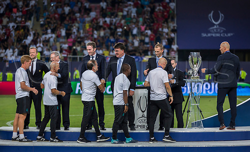 August 8th 2017, Philip II National Arena, Skopje, Macedonia; 2017 UEFA Super Cup; Real Madrid versus Manchester United; players of Real Madrid during the medal ceremony after Super Cup match
