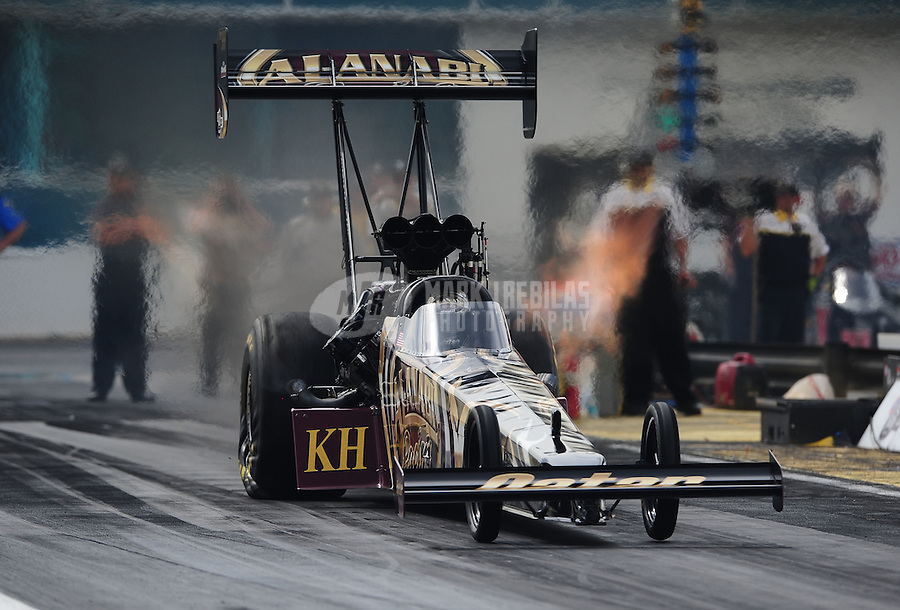 Mar. 9, 2012; Gainesville, FL, USA; NHRA top fuel dragster driver Khalid Albalooshi during qualifying for the Gatornationals at Auto Plus Raceway at Gainesville. Mandatory Credit: Mark J. Rebilas-