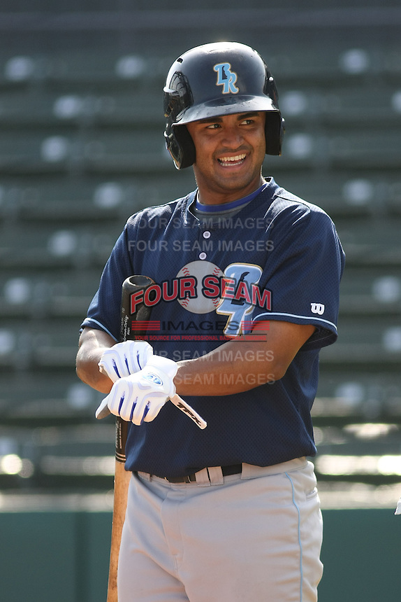 Wilmington Blue Rocks shortstop Christian Colon #12 at batting practice before a game vs. the Myrtle Beach Pelicans at BB&T Coastal Field in Myrtle Beach,SC on July 20, 2010.   Myrtle Beach defeated Wilmington by the score of 5-4.  Photo By Robert Gurganus/Four Seam Images