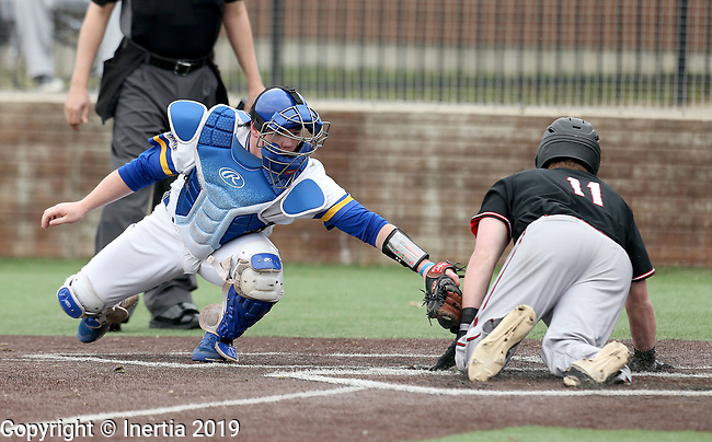 SIOUX FALLS, SD - APRIL 6: Catcher Ryan McDonald from South Dakota State applies the tag on Keil Krumwiede #11 from Nebraska Omaha after he slid safely into home during their game Saturday in Sioux Falls, SD.  (Photo by Dave Eggen/Inertia)