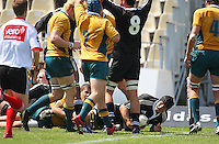 Luke Jones scores in the corner during the International rugby match between New Zealand Secondary Schools and Suncorp Australia Secondary Schools at Yarrows Stadium, New Plymouth, New Zealand on Friday, 10 October 2008. Photo: Dave Lintott / lintottphoto.co.nz