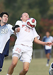 10 November 2007: NC State's Orry Powers (r) defends against Joshua Medcalf (l). The Duke University Blue Devils defeated the North Carolina State University Wolfpack 2-0 at Method Road Soccer Stadium in Raleigh, North Carolina in an Atlantic Coast Conference NCAA Division I Men's Soccer game.