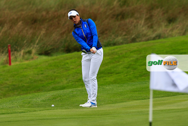 Georgia Hall (EUR) on the 1st during Day 3 Singles at the Solheim Cup 2019, Gleneagles Golf CLub, Auchterarder, Perthshire, Scotland. 15/09/2019.<br /> Picture Thos Caffrey / Golffile.ie<br /> <br /> All photo usage must carry mandatory copyright credit (© Golffile   Thos Caffrey)