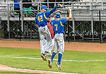 MIDDLETOWN, CT. 06 June 2018-060618BS520 - Seymour's Nick Marchetti (42) celebrates Seymour's win over St Joseph 8-0 with fellow teammate John Chacho (7) after the CIAC Tournament Class M Semi-Final baseball game between Seymour and St Joseph at Palmer Field on Wednesday evening. Seymour beat St Joseph 8-0 and will play Wolcott for the Class M championship on Saturday. Bill Shettle Republican-American