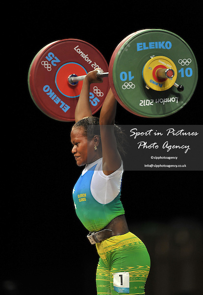 Jenly Tegu Wini (Solomon Islands) Womens weightlifting - 58kg Group B - PHOTO: Mandatory by-line: Garry Bowden/SIP/Pinnacle - Photo Agency UK Tel: +44(0)1363 881025 - Mobile:0797 1270 681 - VAT Reg No: 768 6958 48 - 29/07/2012 - 2012 Olympics - Aquatics Centre, London, England