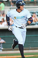 Charleston RiverDogs outfielder Aaron Judge #35 runs to first during a game against the Augusta GreenJackets  at Joseph P. Riley Jr. Ballpark  on April 13, 2014 in Charleston, South Carolina. Augusta defeated Charleston 2-1. (Robert Gurganus/Four Seam Images)