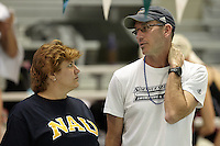 SAN ANTONIO, TX - MARCH 1, 2013: The Northern Arizona University Lumberjacks compete in Day 3 of the 2013 WAC Swimming & Diving Championships at The Aquatic Center at Palo Alto College. (Photo by Jeff Huehn)