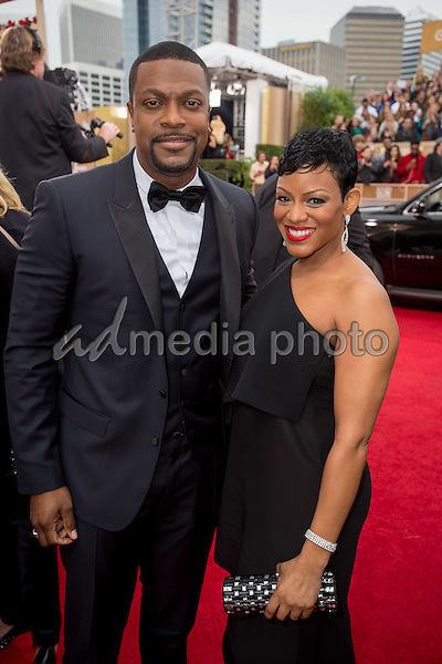 Actor Chris Tucker and guest attend the 73rd Annual Golden Globe Awards at the Beverly Hilton in Beverly Hills, CA on Sunday, January 10, 2016. Photo Credit: HFPA/AdMedia