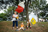 Marcia Snyder (cq, left), Caleb Snyder (cq, middle, age 3.5), and Christian Snyder (cq, age 7.5) attend a rally of the Tea Party Express at Indian Spring Park in Waco, Texas, Thursday, September 3, 2009. The Tea Party Express is heading to Washington, DC where it will hold a final rally against higher government spending, higher taxes, and President Obama's push to reform health care...MATT NAGER/ SPECIAL CONTRIBUTOR