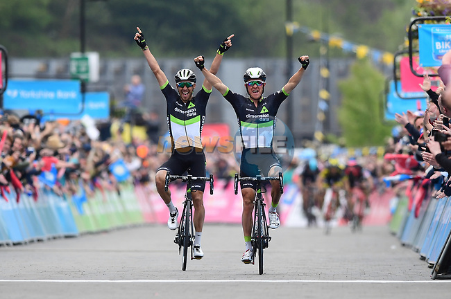 Serge Pauwels (BEL) wins the stage and overall classification with Dimension Data team mate Omar Fraile (ESP) alongside at the end of Stage 3 of the Tour de Yorkshire 2017 running 194.5km from Bradford/Fox Valley to Sheffield, England. 30th April 2017. <br /> Picture: ASO/A.Broadway | Cyclefile<br /> <br /> <br /> All photos usage must carry mandatory copyright credit (&copy; Cyclefile | ASO/A.Broadway)