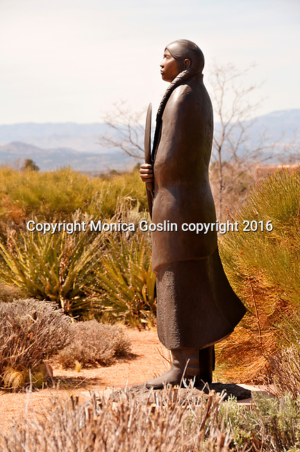 "Sculpture garden at Museum Hill in Santa Fe, New Mexico; sculpture by Allan Houser called ""As Long as the Water Flows"""