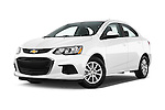 Stock pictures of low aggressive front three quarter view of 2017 Chevrolet Sonic LT 4 Door Sedan Low Aggressive