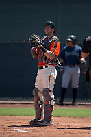 San Francisco Giants Orange catcher Trevor Brown (16) during an Extended Spring Training game against the Seattle Mariners at the San Francisco Giants Training Complex on May 28, 2018 in Scottsdale, Arizona. (Zachary Lucy/Four Seam Images)