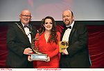 16-6-2019:  Meaddhbh Lyons and Anna Campbell- Pippin- GUMS, Galway winner of the Best Choreographer award at the annual AIMS (Association of Irish Musical Societies) in the INEC Killarney at the weekend receiving the trophy from Seamus Power, President, AIMS left and Rob Donnelly, Vice-President.<br /> Photo: Don MacMonagle - macmonagle.com<br /> <br /> repro free photo from AIMS<br /> <br /> AIMS PRESS RELEASE: There was plenty of glitz and glamour in Killarney on Saturday night as The Association of Irish Musical Societies has its Annual Awards Ceremony in Killarney. Over 1,500 people could be heard over the Kerry mountains as the winners were announced by MC Fergal D'Arcy. Many societies were double winners on the night including UCD Musical Society, Dublin were dancing all the way to the trophies winning Best Choreography and Best Choreographer for Leah Meagher for Cabaret and  Tullamore Musical Society who took their moment as Chris Corroon won Best Male Singer for his sinful performance as Henry Jekyll in Jekyll &Hyde and also Director Paul Norton who'd plenty to celebrate picking Best Director for  the same show. The moment was once again taken by Jekyll&Hyde by Dùn Laoighaire Musical&Dramatic Society as Kevin Hartnett took up Best Male Singer in the Sullivan category.Nenagh Youth Musical Society raised their voices high and took home Best Ensemble. It was a superior night for Enniscorthy Musical Society by winning Best Comedienne for Jennifer Byrne as Mother Superior and Best Technical too. Portlaoise Musical Society rose to the top by taking home Best Overall Show in the Gilbert section for their stunning production of Titanic. Oyster Lane Theatre Group, Wexford flew their flag high taking home Best Overall Show in the Sullivan Section for their breathtaking production of Michael Collins-a Musical Drama.<br /> Other winners on the night included Best Comedian for Ronan Walsh as Officer Lockstock in Urinetown for Trim Musical Society, Best Actress in a Supporting Role for  Roisin Lawless
