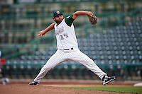 Fort Wayne TinCaps relief pitcher Nick Monroe (34) delivers a pitch during the second game of a doubleheader against the Great Lakes Loons on May 11, 2016 at Parkview Field in Fort Wayne, Indiana.  Great Lakes defeated Fort Wayne 5-0.  (Mike Janes/Four Seam Images)
