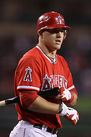 Mike Trout #27 of the Los Angeles Angels bats against the Seattle Mariners at Angel Stadium on June 5, 2012 in Anaheim,California. Los Angeles defeated Seattle 6-1.(Larry Goren/Four Seam Images)