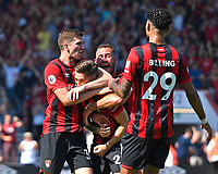 Harry Wilson of AFC Bournemouth right celebrates his goal with Steve Cook, Chris Mepham and Philip Billing of AFC Bournemouth during AFC Bournemouth vs Manchester City, Premier League Football at the Vitality Stadium on 25th August 2019