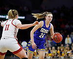 SIOUX FALLS, SD - MARCH 10: Tagyn Larson #24 of the South Dakota State Jackrabbits drives with the ball against Monica Arens #11 of the South Dakota Coyotes during the women's championship game at the 2020 Summit League Basketball Tournament in Sioux Falls, SD. (Photo by Richard Carlson/Inertia)