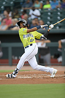 Left fielder Wagner Lagrange (23) of the Columbia Fireflies bats in a game against the Augusta GreenJackets on Thursday, July 11, 2019 at Segra Park in Columbia, South Carolina. Columbia won, 5-2. (Tom Priddy/Four Seam Images)