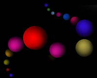 Line of multi coloured floating spheres