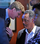 Patrick Kennedy, left, talks with Rev. Jesse Jackson in a hotel bar during the Democratic National Convention in Charlotte, North Carolina on Tuesday, September 04, 2012.