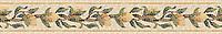 "6 3/8"" Lemon Bough border, a hand-cut stone mosaic, shown in polished Emperador Dark, Crema Marfil, Crema Valencia, Persian Gold, Spring Green, Chartreuse, Travertine Noce, and Dijon Gold."
