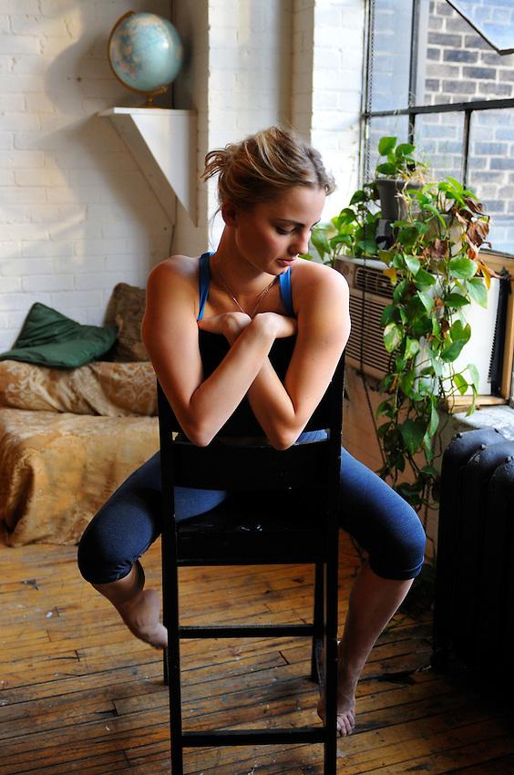 Gregory Holmgren Photography Loft 404 Yoga and Dance Shoot, January 2014, featuring Lulu Lemon yoga wear and Model Roxalana, Hair and Makeup by Jessica Rose Sarkozi.