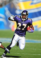 Sep. 20, 2009; San Diego, CA, USA; Baltimore Ravens running back (27) Ray Rice against the San Diego Chargers at Qualcomm Stadium in San Diego. Baltimore defeated San Diego 31-26. Mandatory Credit: Mark J. Rebilas-