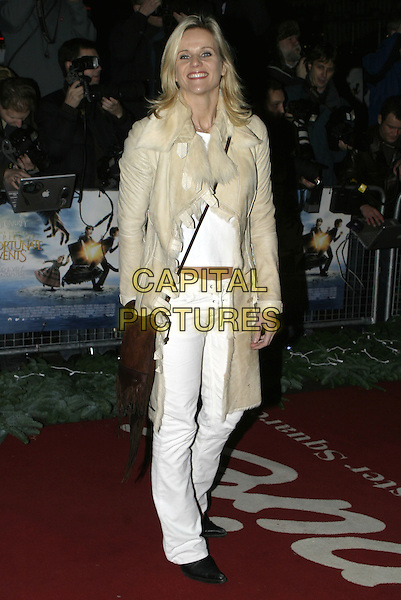 "LINDA BARKER.Lemony Snicket's ""A Series of Unfortunate Events"" film premiere, Empire cinema, Leicester Square,.London, 16th December 2004..full length cream beige coat jacket fur.Ref: AH.www.capitalpictures.com.sales@capitalpictures.com.©Capital Pictures..."