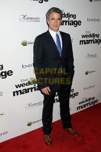 "DERMOT MULRONEY.Premiere of ""Love, Wedding, Marriage"" held at The Pacific Design Center in Beverly Hills, California, USA..May 17th, 2011.full length suit shirt black white blue tie.CAP/ADM/BP.©Byron Purvis/AdMedia/Capital Pictures."