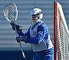 Jack Concannon #12, Hofstra University goalie, defends the net during a scrimmage against Hobart College at Hofstra University on Saturday, Feb. 4, 2017.