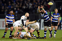 Joe Simpson of Wasps box-kicks the ball. Aviva Premiership match, between Bath Rugby and Wasps on December 29, 2017 at the Recreation Ground in Bath, England. Photo by: Patrick Khachfe / Onside Images
