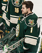Mike Santaguida (UVM - 1) - The Boston College Eagles defeated the University of Vermont Catamounts 7-4 on Saturday, March 11, 2017, at Kelley Rink to sweep their Hockey East quarterfinal series.The Boston College Eagles defeated the University of Vermont Catamounts 7-4 on Saturday, March 11, 2017, at Kelley Rink to sweep their Hockey East quarterfinal series.