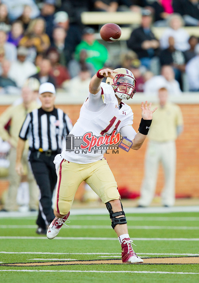 Boston College Eagles quarterback Chase Rettig (11) passes the ball during first half action against the Wake Forest Demon Deacons at BB&T Field on November 3, 2012 in Winston-Salem, North Carolina.  The Demon Deacons defeated the Eagles 28-14.  (Brian Westerholt/Sports On Film)