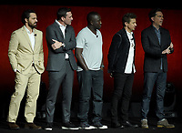 LAS VEGAS, NV - APRIL 24: (L-R) Actors Jake Johnson, Jon Hamm, Hannibal Buress, Jeremy Renner, and Ed Helms onstage during the Warner Bros. Pictures presentation at CinemaCon 2018 at The Colosseum at Caesars Palace on April 24, 2018 in Las Vegas, Nevada. (Photo by Frank Micelotta/PictureGroup)
