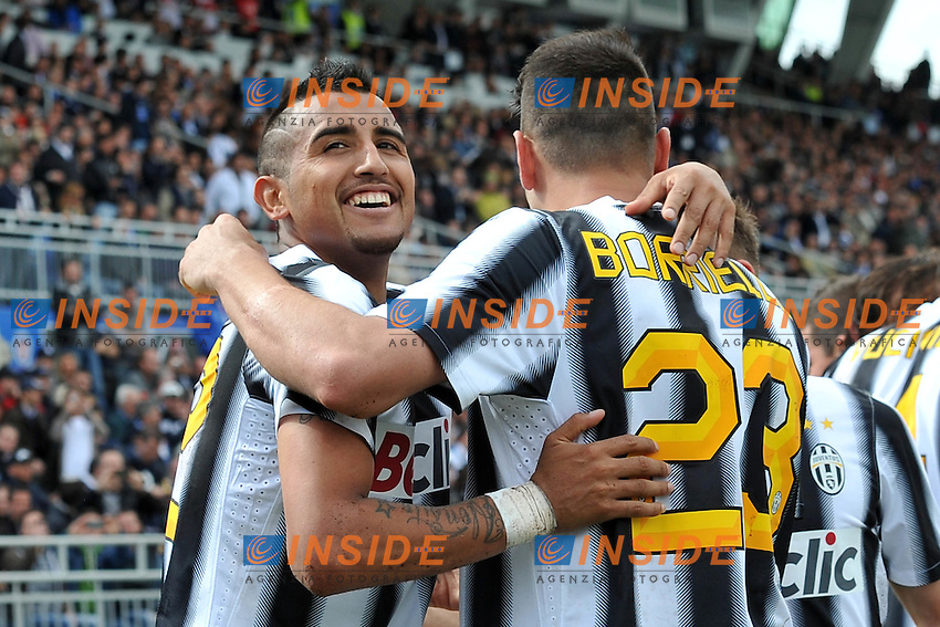 "Esultanza dopo il gol di Mauro VIDAL (Juventus) goal celebration.Novara 29/04/2012 Stadio ""Silvio Piola"".Serie A 2011/2012.Football Calcio Novara Vs Juventus.Foto Insidefoto Alessandro Sabattini."